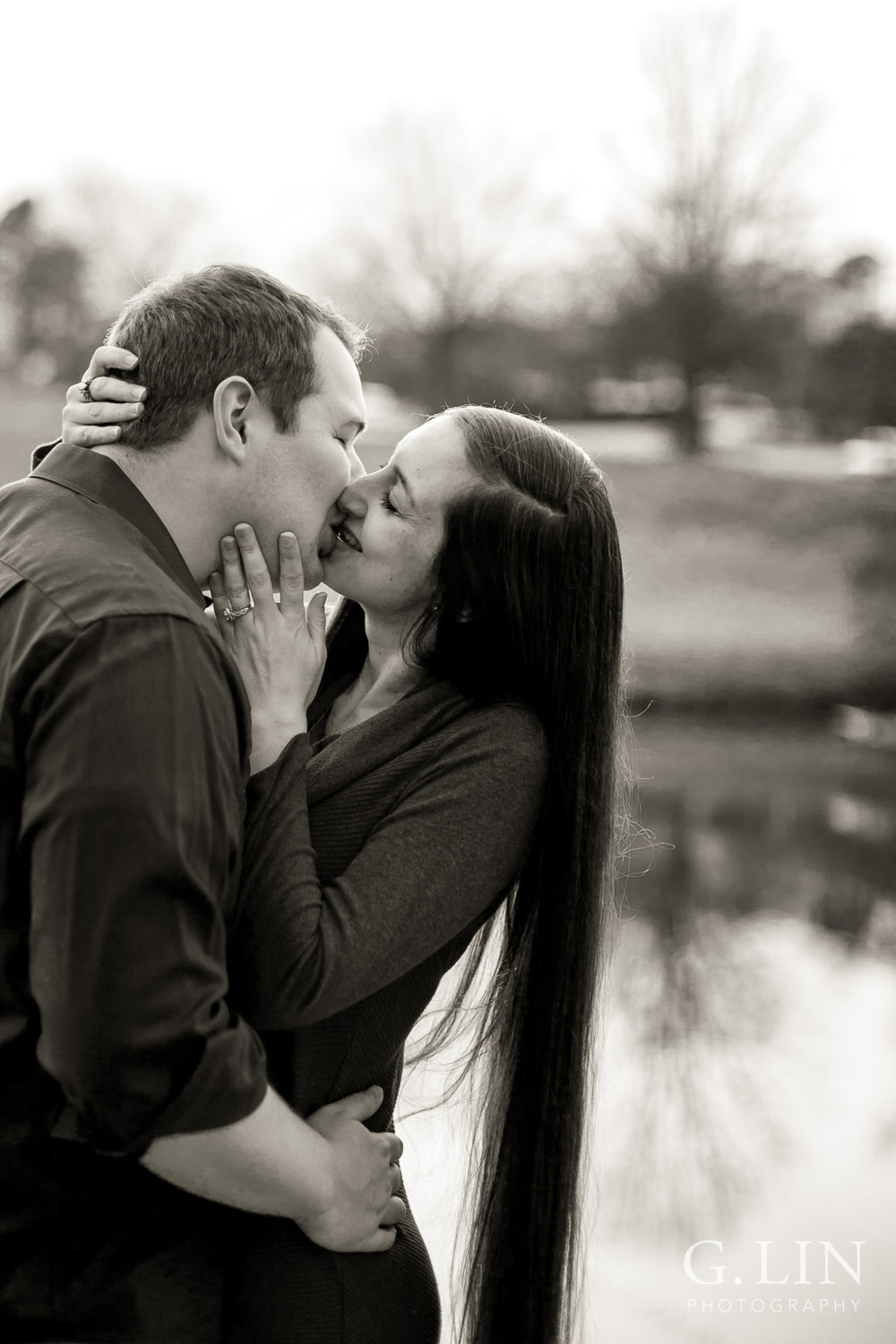 Romantic black and white photo of engaged couple | Raleigh Engagement Photographer | By G. Lin Photography