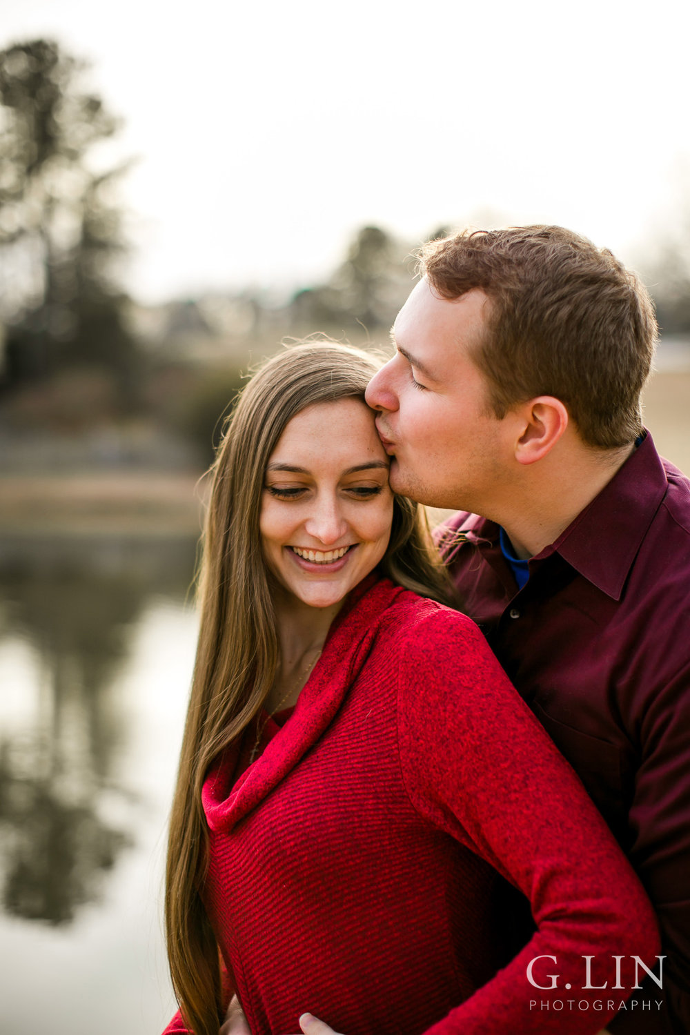 Winter Engagement Photo Outside | Raleigh Engagement Photographer | By G. Lin Photography