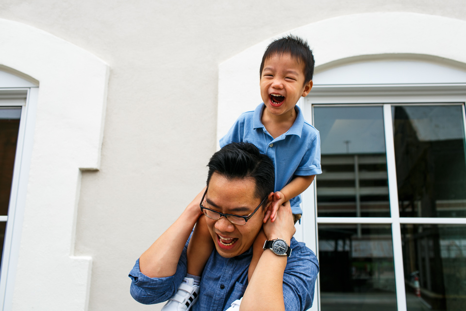 Son riding on dad's shoulders | Durham Family Photographer | By G. Lin Photography