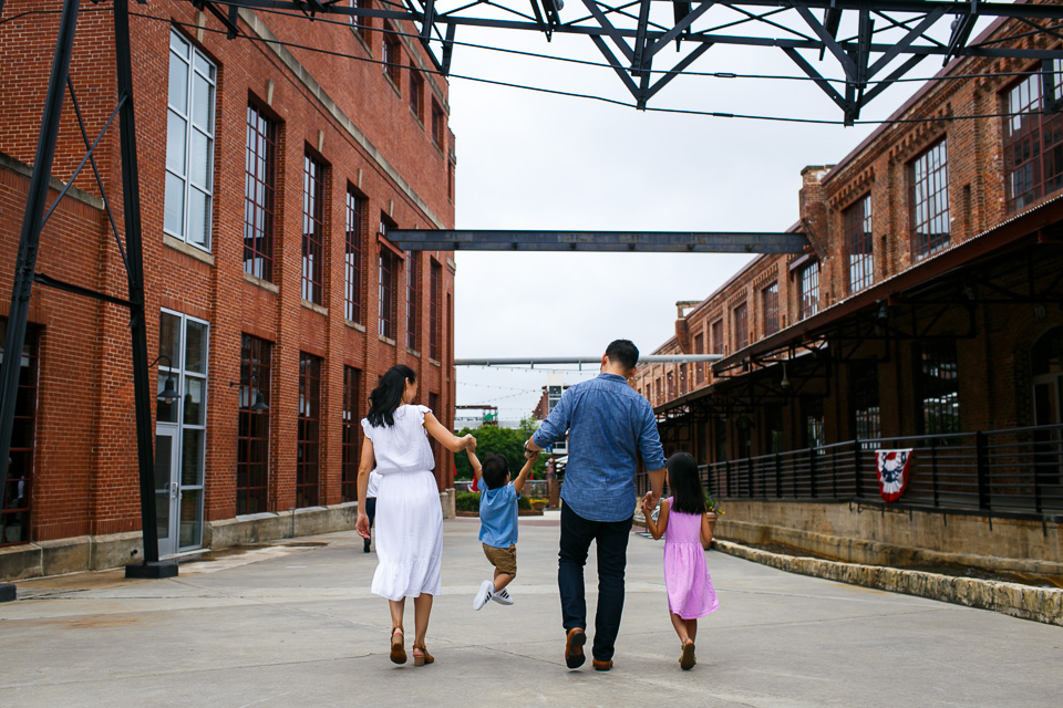 Candid Family Photo at American Tobacco Campus | Durham Family Photography | By G. Lin Photography