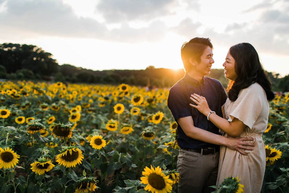 Couple standing in sunflower field at Dorothea Dix Park | By G. Lin Photography | Raleigh Engagement Photographer