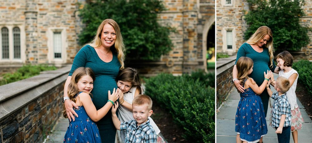 Durham Maternity Photographer | G. Lin Photography | Outdoor Maternity photos of mom and children
