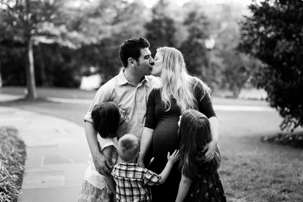 Beautiful black and white family photo at Duke | Durham Maternity Photographer | By G. Lin Photography