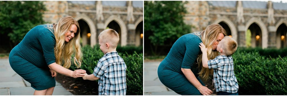 Young boy handing flower to mom | Durham Maternity Photographer | By G. Lin Photography