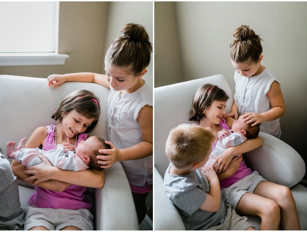 Raleigh Newborn Photographer | By G. Lin Photography | Siblings holding baby sister by window