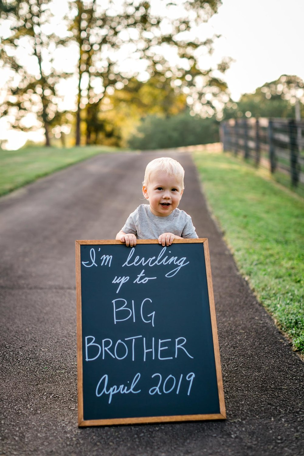 Leveling up to big brother chalkboard sign | By G. Lin Photography | Rougemont Family Photographer