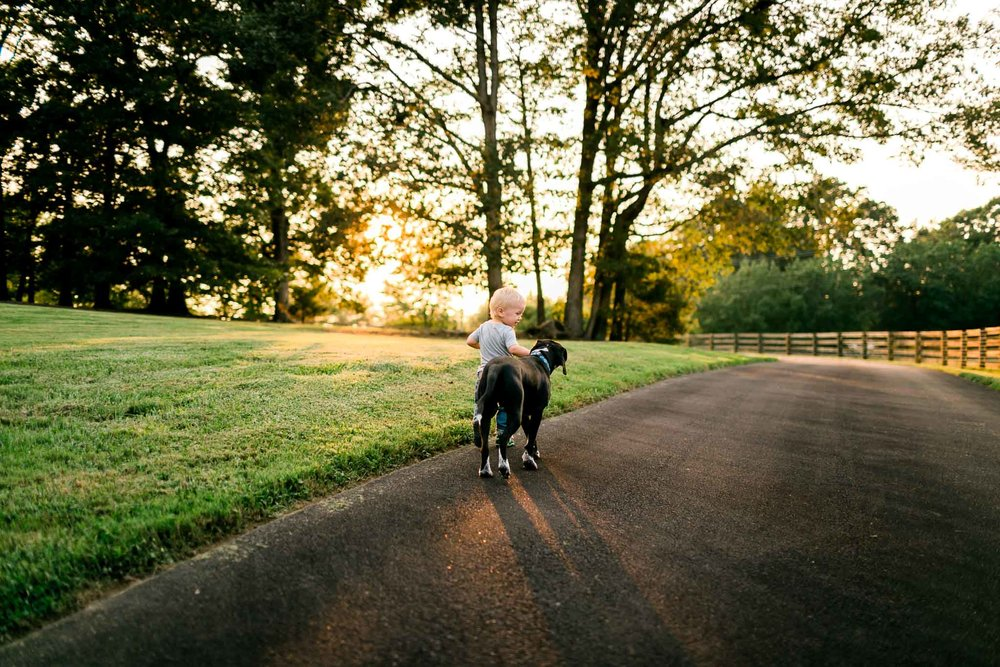 Boy running with dog | By G. Lin Photography | Rougemont Family Photographer