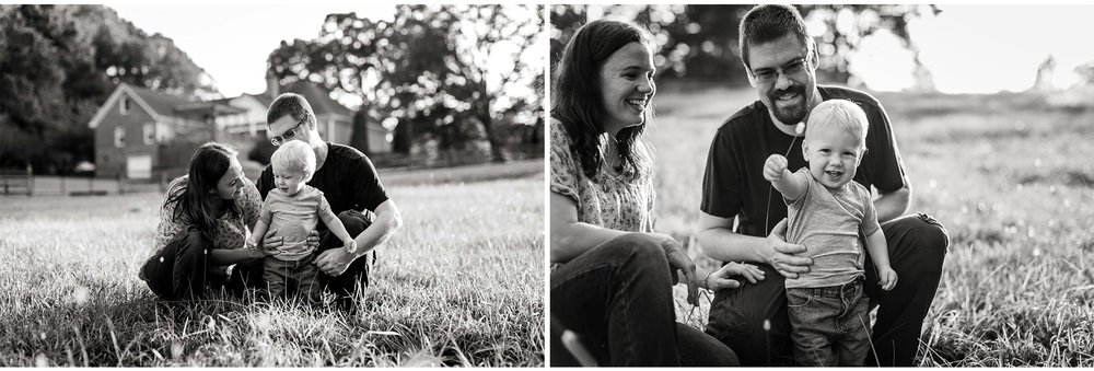 Black and white family photos outdoors on farm | By G. Lin Photography | Durham Family Photographer