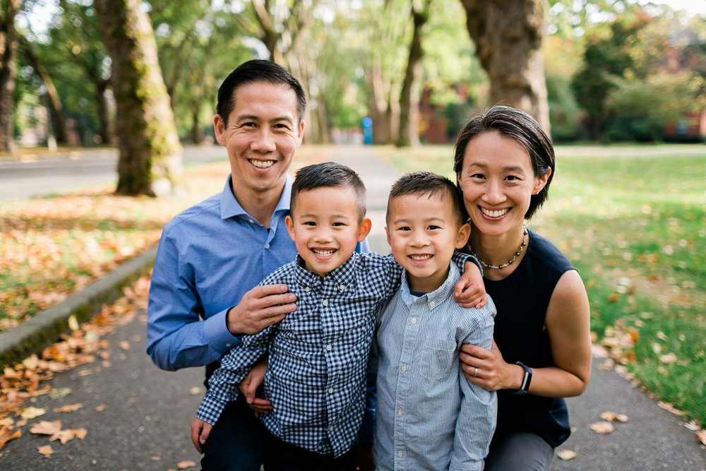Group Family Photo during Fall | By G. Lin Photography | Durham Family Photographer