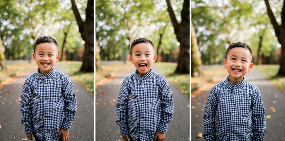Portraits of boy making funny faces | Durham Photographer | By G. Lin Photography