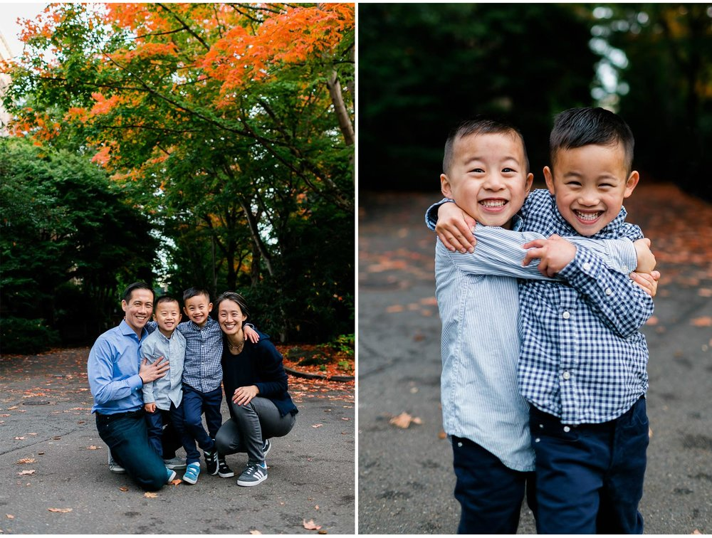 Fall family photo at UW | Seattle Family Photographer | By G. Lin Photography