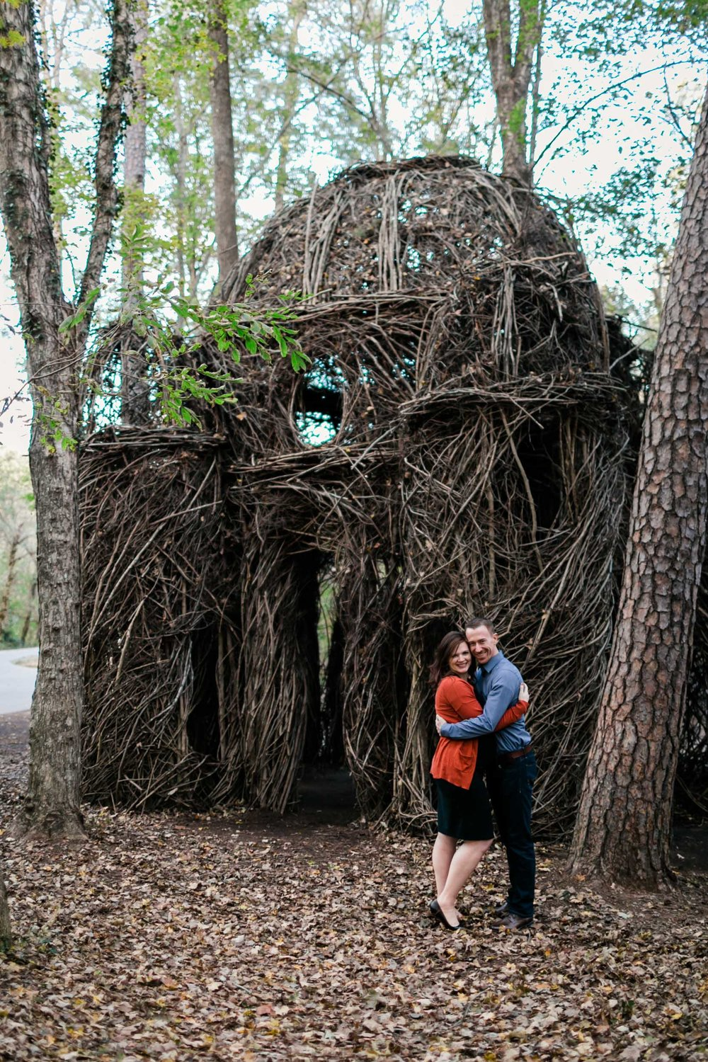 Couple standing with Twig Sculpture at Hillsborough Riverwalk | Durham Maternity Photographer | By G. Lin Photography