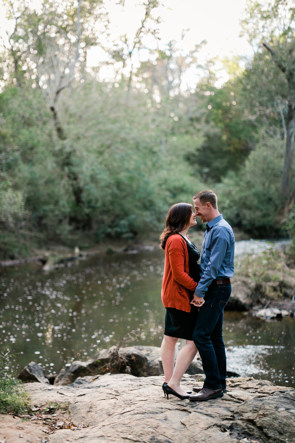 Couple Portrait by river at Hillsborough Riverwalk | Durham Maternity Photographer | By G. Lin Photography
