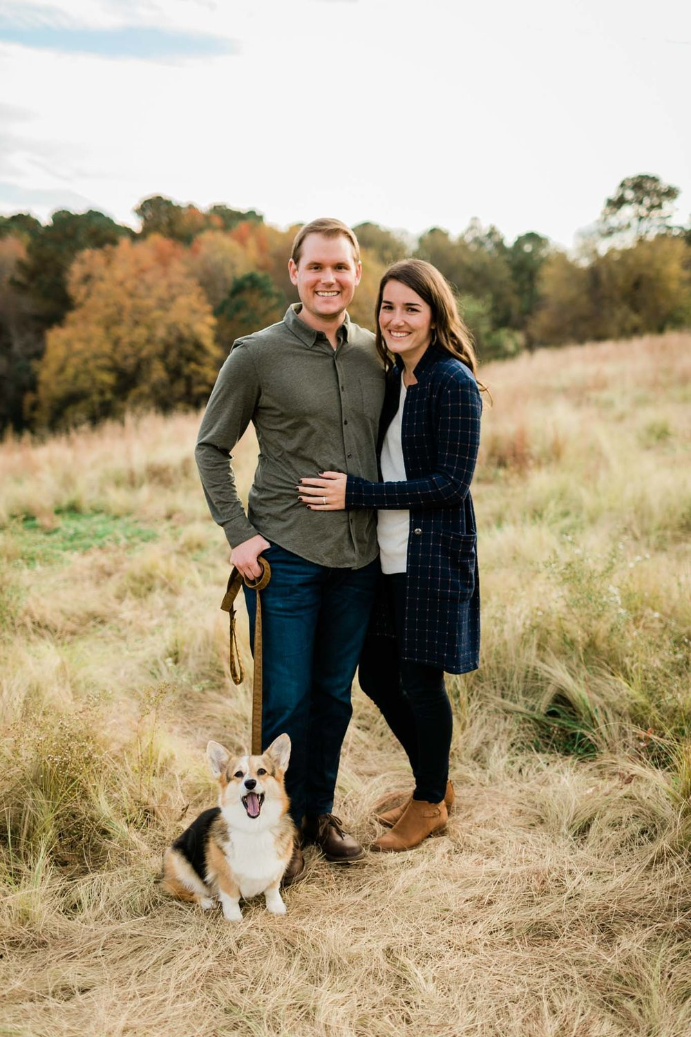 Outdoor family session with dog in open field | Raleigh Family Photographer | By G. Lin Photography