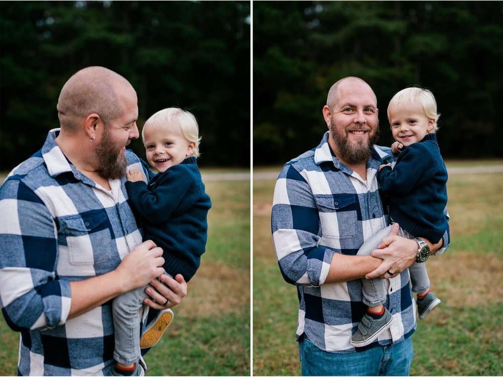 Father and son photo outside at Umstead Park | Raleigh Family Photographer | By G. Lin Photography