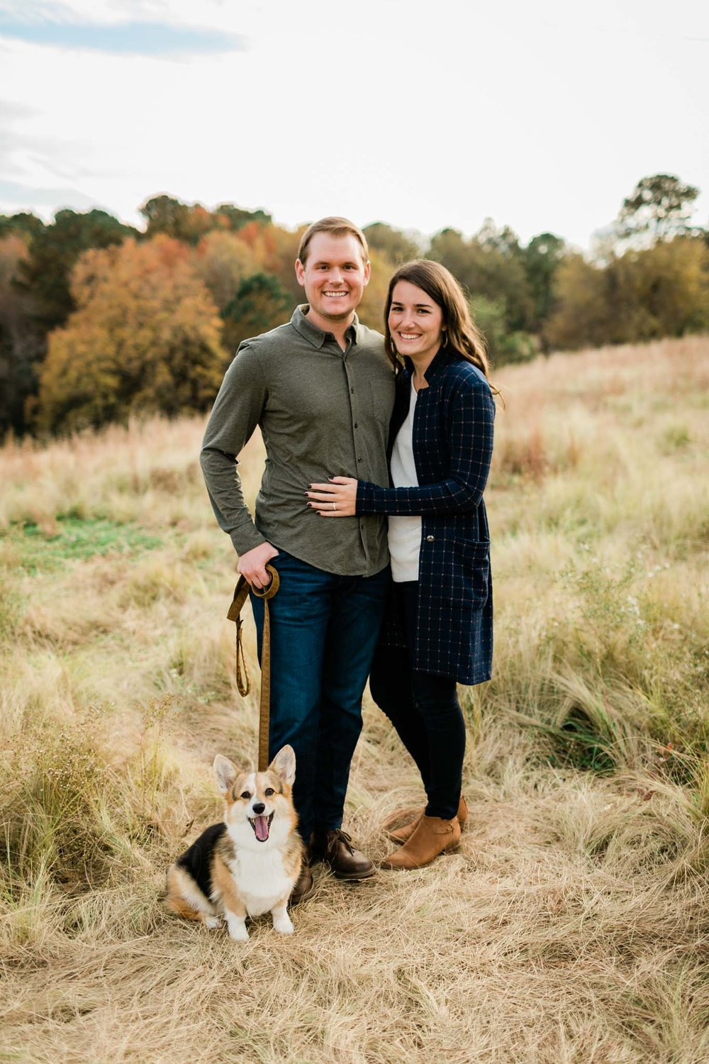 Outdoor family portrait with corgi at NCMA | Raleigh Family Photographer | By G. Lin Photography