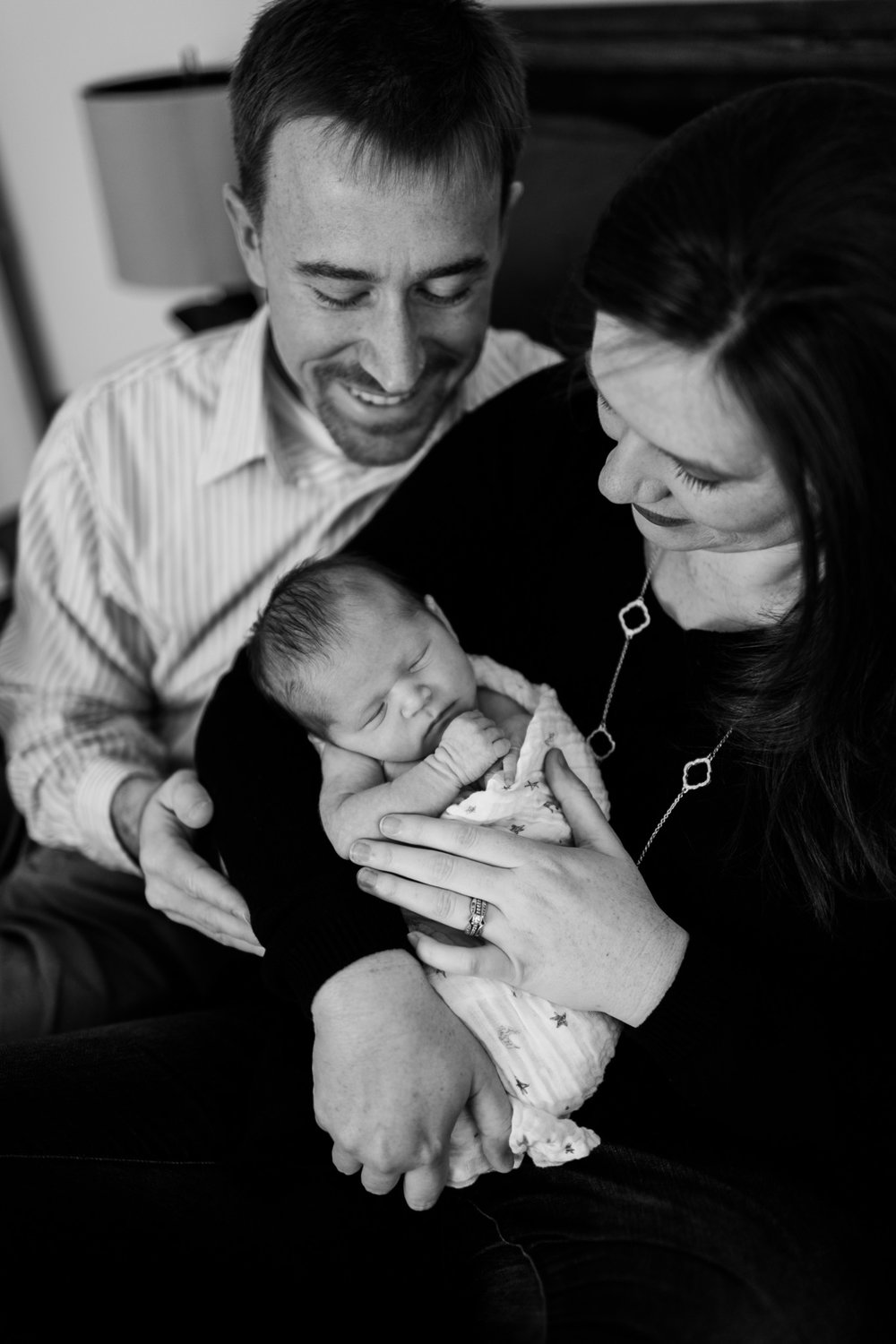 Black and white photo of baby and parents | Raleigh Newborn Photographer | By G. Lin Photography