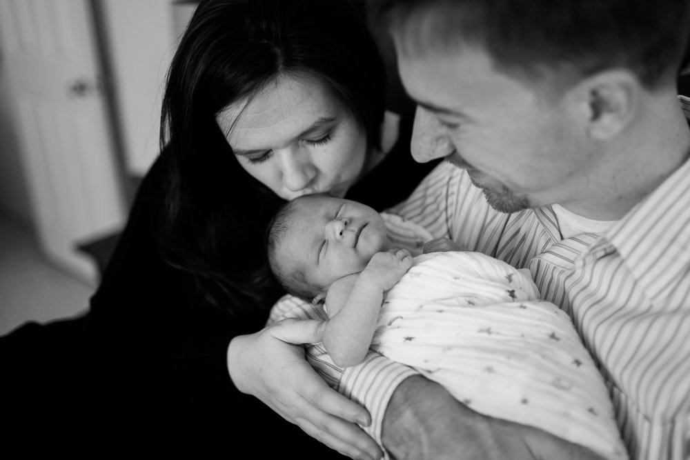 Beautiful black and white photo of baby and parents | Durham Newborn Photographer | By G. Lin Photography