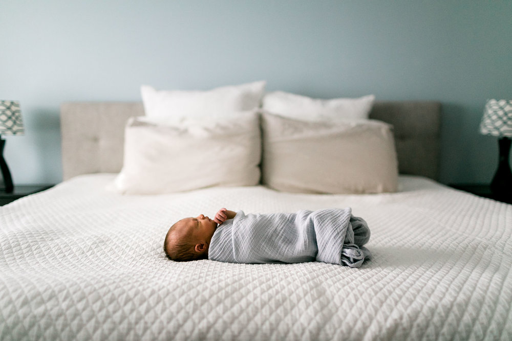 Baby on white bed sleeping | Durham Newborn Photographer | By G. Lin Photography