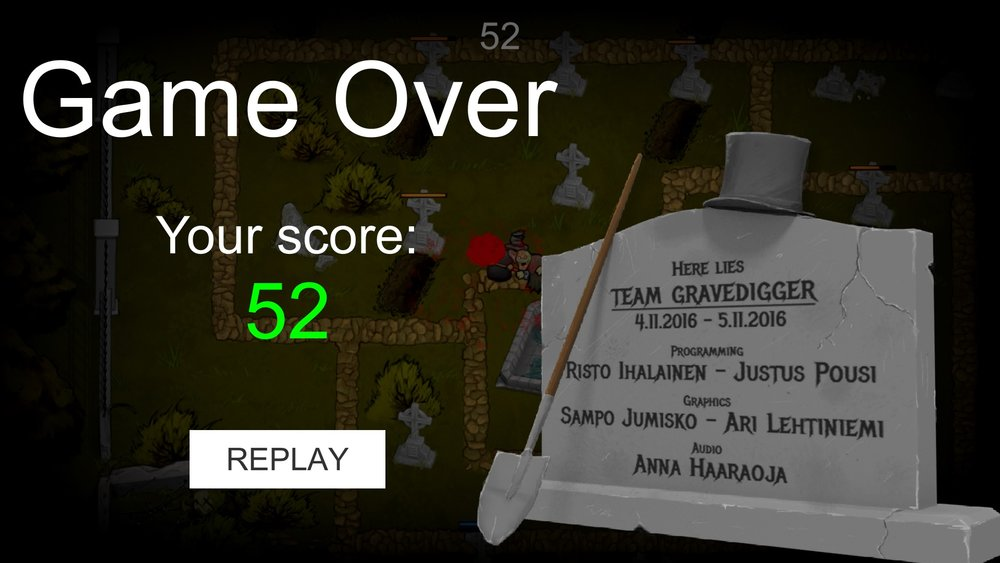 Grave digger - game over screen