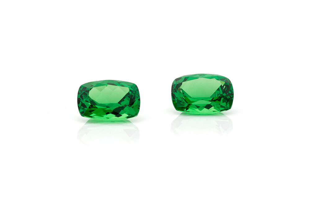 Tsavorite is a variety of the garnet group. The shining green tsavorite is a young gemstone with a long geological history. Vivid, radiant green of color, top quality is rare and hard to find.