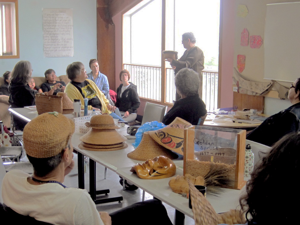 First Nations basket care workshop in Haida Gwaii British Columbia