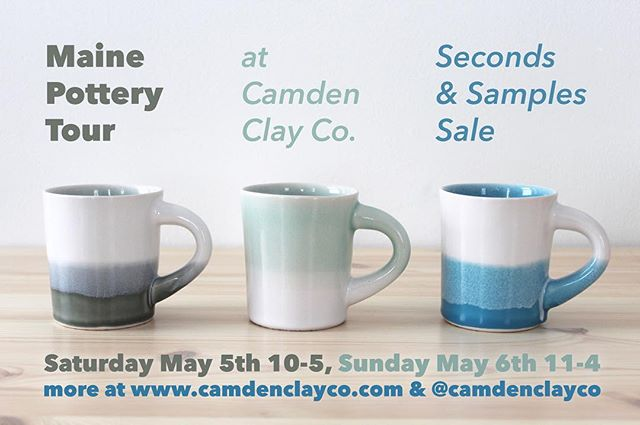 "It's #MainePotteryTour time! We are once again participating in this statewide open studio event! Come shop our ""Spring Cleaning"" Seconds and Samples Sale on Saturday, May 5th from 10-5, and Sunday May 6th from 11-4. Directions and more at link in bio! #camdenclayco #mainepottery #shoplocal #shoplocalmaine #shophandmade #madeinmaine #handmadeceramics"