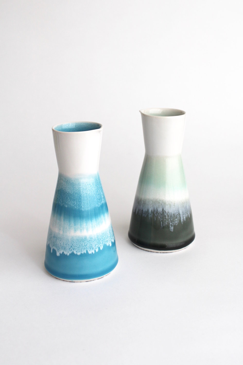 Two Sake Carafes 2018 Austin P Smith Camden Clay Co.jpg