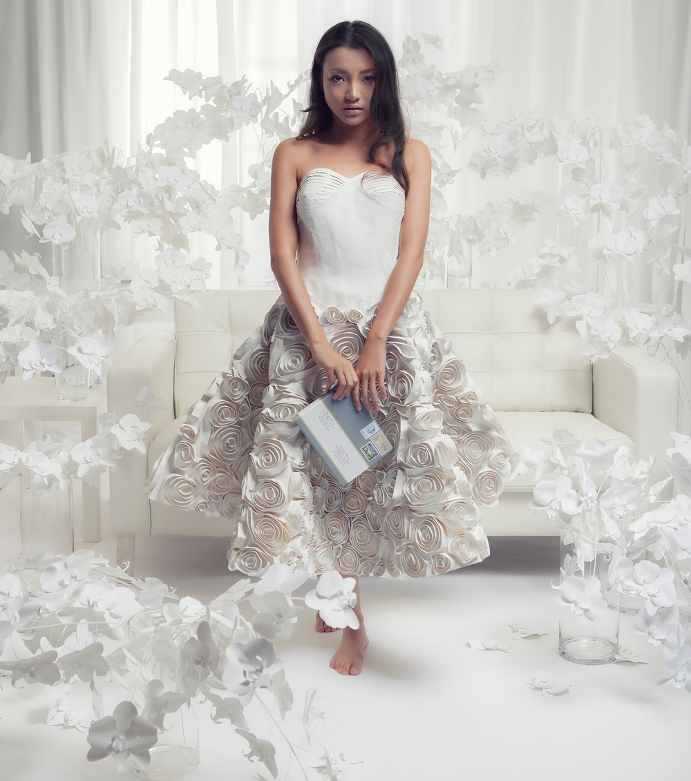 six hundred paper orchids + a masking tape dress