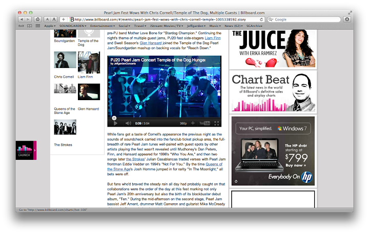 Billboard.com posting our PJ20 video