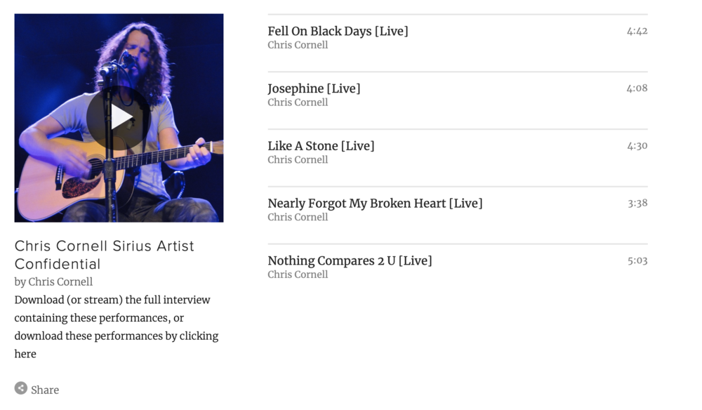 "Stream ""Chris Cornell - Artist Confidential"" Interview & Performance"