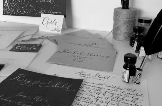 Calligraphy samples in the Lamplighter London Studio, and an amazing quill gifted from my gorgeous friend Becca