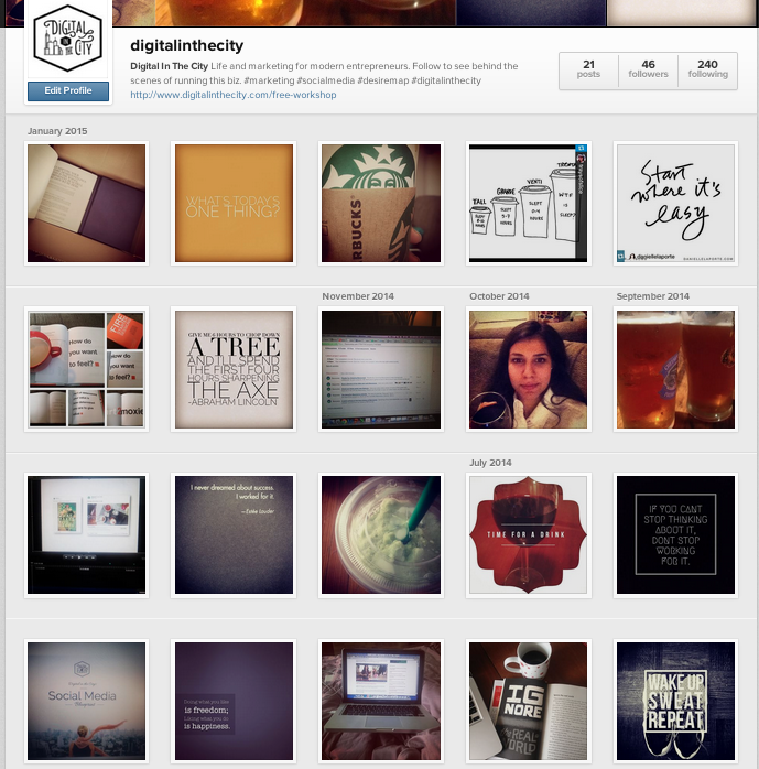 A screen shot of my Instagram account as it is right now.