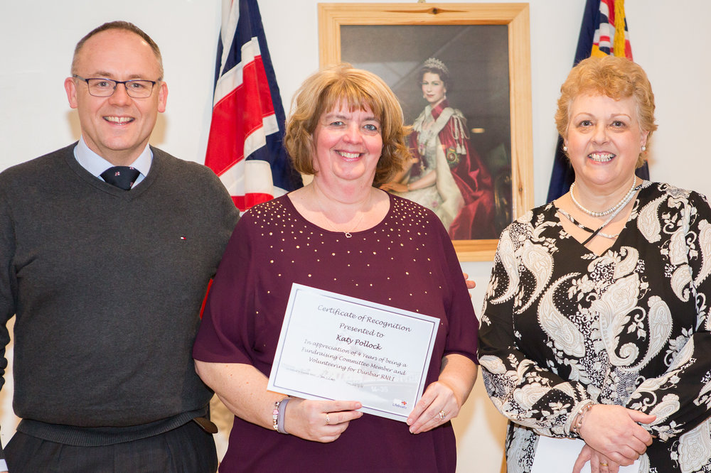 Katy Pollock (4 years service - Fundraising Committee), with Mark Lees and Veronica Davies