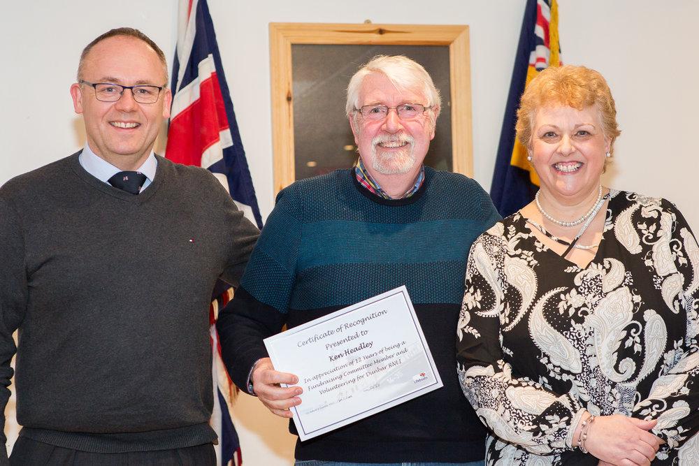 Ken Headley (12 years service - Fundraising Committee)