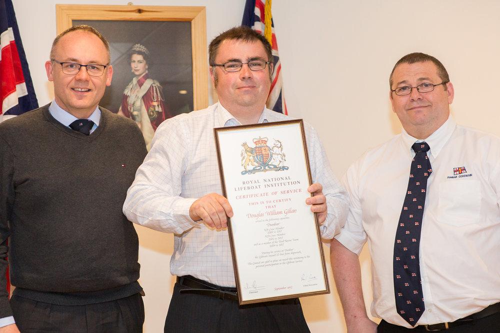 Douglas Gillan (17 years - crew), with Mark Lees and Gary Fairbairn