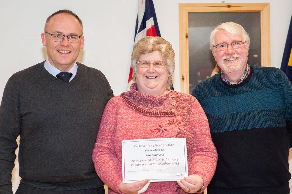 Sue Barnott (10 years service - shop volunteer)