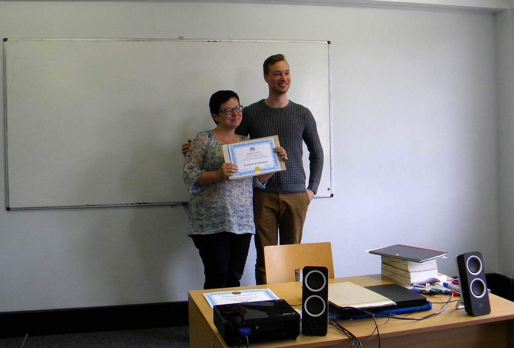 Magda and course leader Alexander Schimmel during the MDSO certification