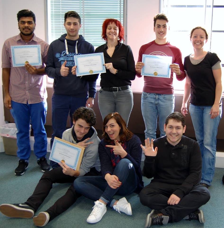 A group of Belgian students at their certification for completing The Work Experience Programme