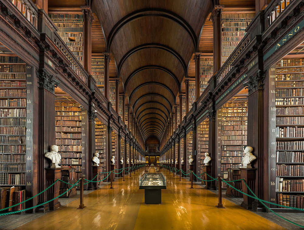 The Long Room in Trinity College (photo: Diliff, Wikimedia Commons).