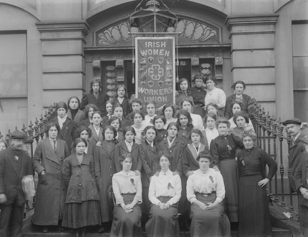 Members of the Irish Women Workers Union on the steps of Liberty Hall