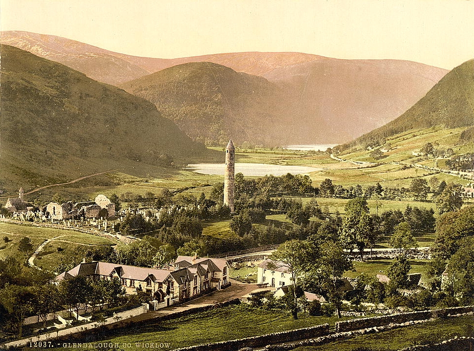 An old Glendalough postcard with a view over the monastery.