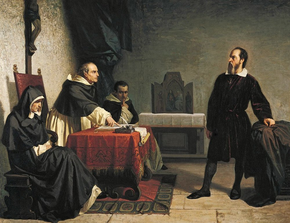 Galileo facing the Roman Inquisition , painting by Cristiano Banti