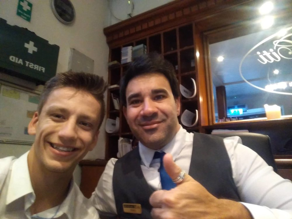 Jakub with one of his colleagues at the hotel.