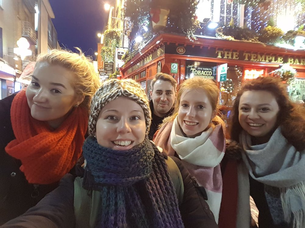 Patrick and his friends in front of The Temple Bar
