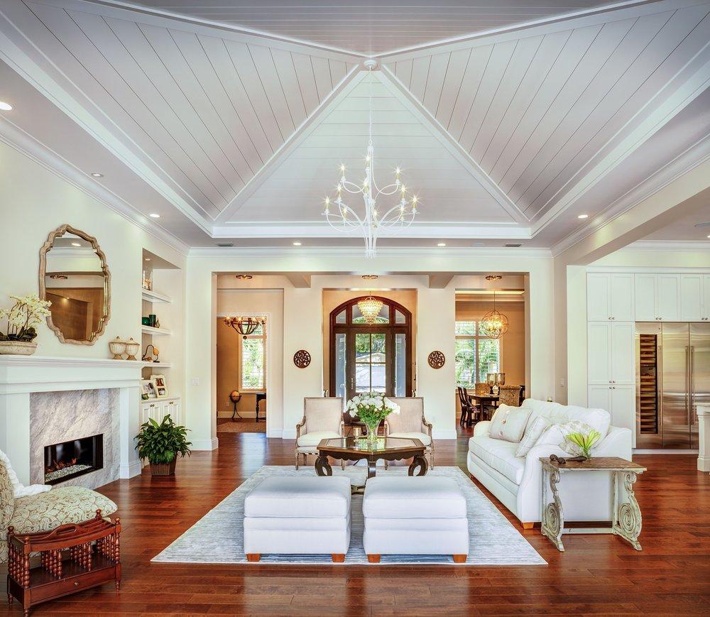 Sarasota Custom Home Great Room Vaulted Ceiling