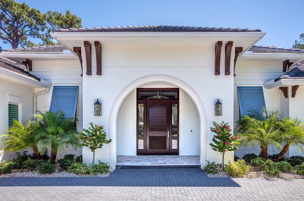 Coastal Custom Home Entry Sarasota