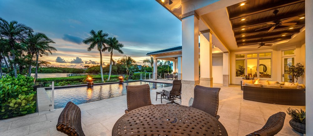 Sarasota Custom Construction Waterfront Outdoor Living View