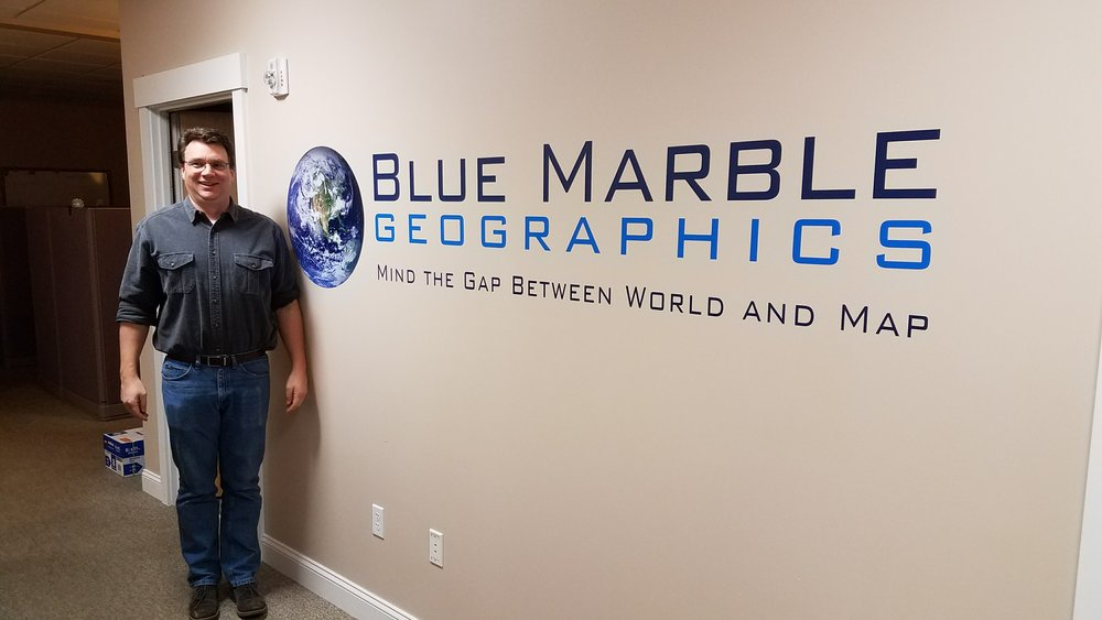 Thadd at the Blue Marble Geographics office in Maine.