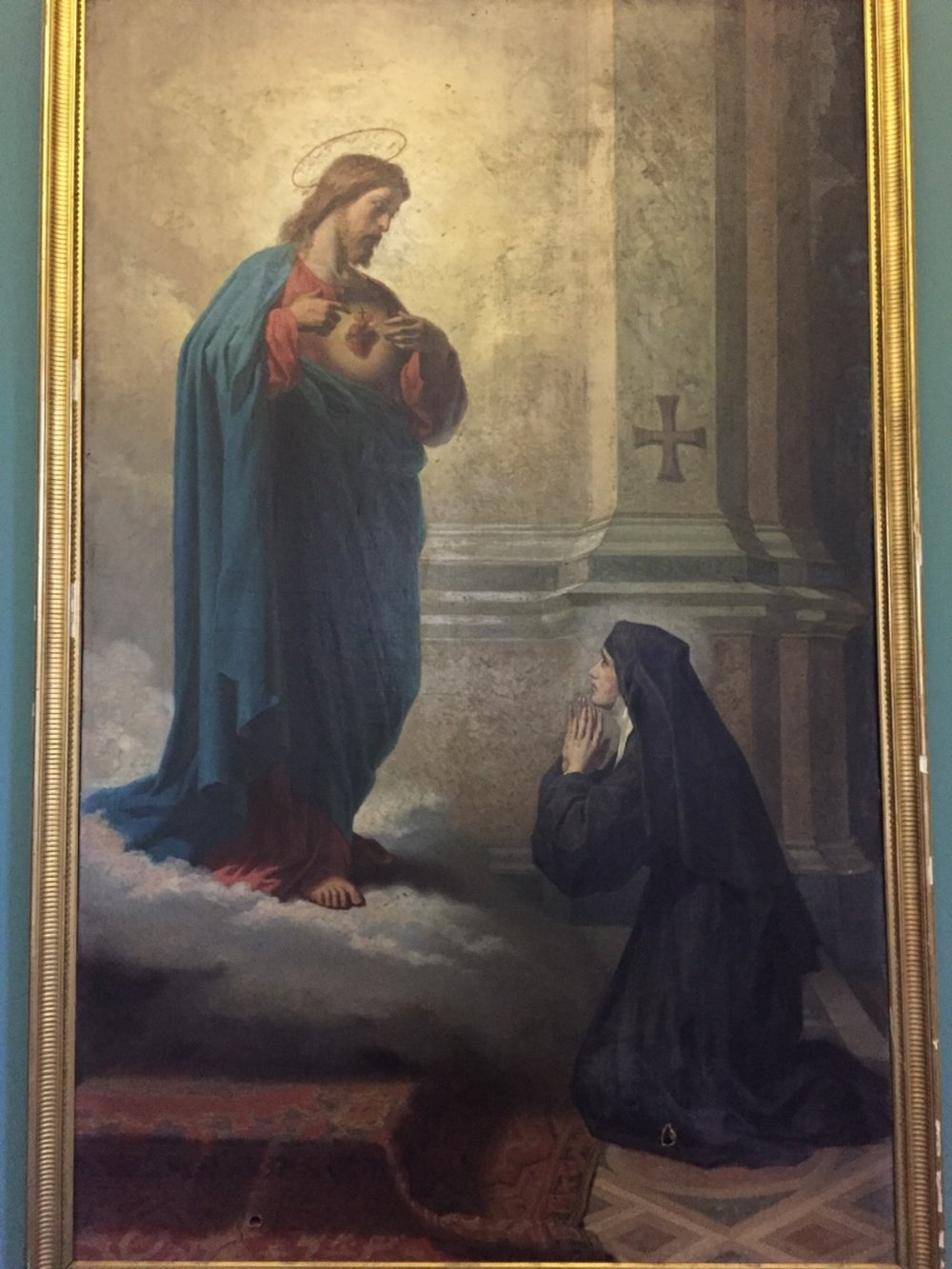 "Painting at St. Francis de Sales Seminary (""You think of me and I will think of you"" Jesus words to St. Margaret Mary)"